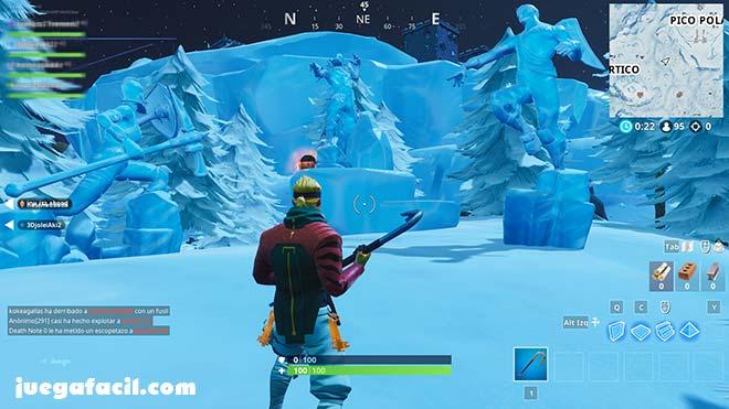 baila entre 3 esculturas de hielo - 4 fuentes termales fortnite